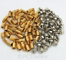50x 6.5mm Brass Standoff 6-32 - M3 PC Case Motherboard Riser + Screws