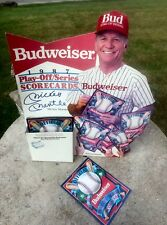 1987 Mickey Mantle Budweiser Playoff Series Score Card Give Away Display Holder
