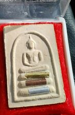 THAI LP MUI AMULET IN TEMPLE BOX WITH EMBEDDED TAKRUTS LUANG  PHOR MUI