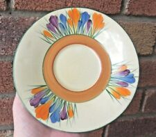 CROCUS HP Bizarre by Clarice Cliff Wilkinson Ltd England Saucer Plate-Scarce-Exc