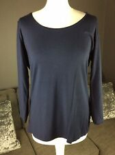 Womens Anne Klein Size L Navy 3/4 Sleeve Stretchy Jumper Top T3
