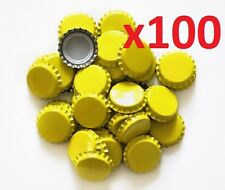 100 Yellow Home Brew Bottle Crown Caps 26mm Very Good Seal Quality FAST P&P