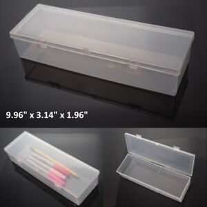 Large Clear Plastic Storage Container Box Hinged Lid Crafts Markers Pens Pencils