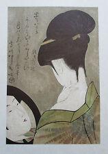 Kitagawa Utamaro SCHÖNHEIT SICH IM SPIEGEL BETRACHTEND Kunstdruck art print