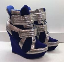 Liliana Blue Velvet Wedge Sneakers 8 Platform Silver Laceup High Heel Ankle Boot