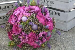 Artificial Wedding Flowers peony bouquet, bride magenta bouquet, thistle, purple