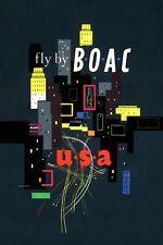 Milieu du siècle Eames Era BOAC Airlines voyage pour USA Poster A3 réimpression