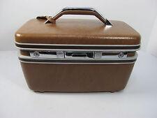 Vintage Samsonite Silhouette Brown Train Case Makeup Luggage w/ Keys
