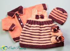 Hand Knitted Baby Dress Cardigan Hat and Booties Set 0-3 months