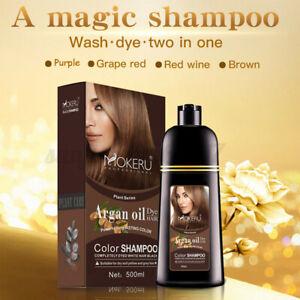 Mokeru 500ml Natural Argan Oil Essence Instant Hair Dye Shampoo Hair Coloring OZ
