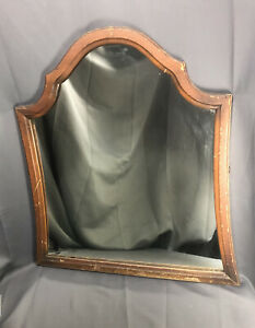 Antique Bell Shaped Vanity Mirror With Wood Frame Needs Restoration