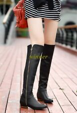 Fashion Women Real Leather Over The Knee Thigh High Boots Zipper Formal Shoes Sz