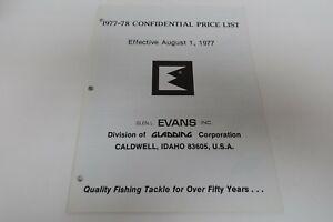 Glen Evans 1977 Confidential Price Catalog Fishing Tackle Lures Pre Luhr Jensen