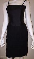 Little Black Dress CLAIRE DRATCH Silk & Wool Sheer Panels Overlay AMAZING Sz 6