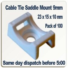 Cable Tie Saddle Mounts for 9mm ties. White nylon 6/6 Pack of 100