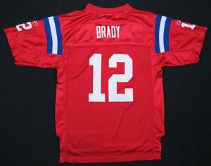 Tom Brady New England Patriots Reebok On Field NFL Football Red #12 Jersey 14-16
