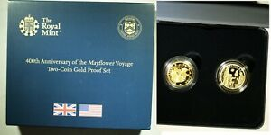 2020 Mayflower 400th Ann 2 coin GOLD PROOF set Joint UK/USA - UK version #70/500