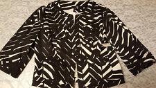 NWT East 5th Women's Black&White Print 3/4 Sleeve Hook&Eye Closure Coat Size PS
