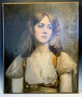 """Antique French Oil Painting, Portrait of a Beautiful Young Woman, Naughty, 25.5"""""""