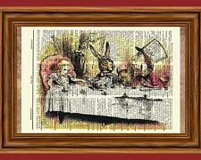 Alice in Wonderland Dictionary Art Print Mad Hatter Tea Party Picture Poster