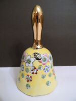 Hand Painted Viking Porcelain Bell Japan Yellow w/ Flowers, Gold, Price Import