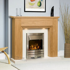 ELECTRIC OAK WOOD SURROUND WHITE SILVER LED FIRE WALL FIREPLACE SUITE LIGHTS 48""