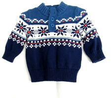 Baby Gap Boys Navy Blue Nordic Snowflake Pullover Sweater Size 6-12 M Months