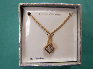 Square CZ Solitaire Pendant Necklace Gold Plated