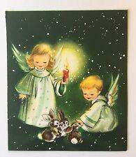 Vintage Christmas Card Front Cute Angel Boy Girl Dress Candle Snow Bunny Rabbit