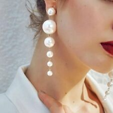 Wedding Elegant Pearl Long Earrings Drop Dangle Womens Jewellery Party Gift New