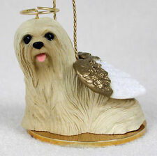 Lhasa Apso Dog Figurine Angel Statue Blonde