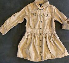 Polo Ralph Lauren Toddler Girls Chino Longsleeve Shirtdress Khaki tan size 4T