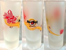 """Hard Rock Cafe SINGAPORE 1990s 4"""" SHOT GLASS Dragon on FROSTED Cordial GLASSWARE"""