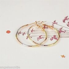18K Rose, White & Yellow Gold Filled Three Tone Hoop Earrings (E-173)