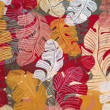 Hilo Hattie Hawaiian Camp Shirt L Large XL Leaves Red Orange Tropical Yellow