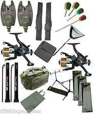 COMPLETE CARP FISHING SET UP RODS REELS ALARMS ROD HOLDALL BAG HAIR RIGS NET MAT