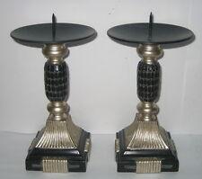 2 Kerzenständer mit Schlangenleder Optik, im Antik Stil, 17x10cm