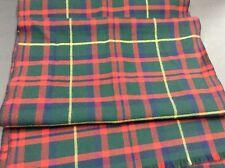 "Vintage Tartan Plaid Scarf 100% Wool Red & Green 60"""