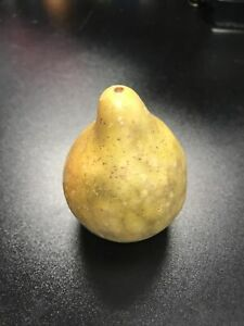 Early Antique Italian Hand Carved Alabaster Pear Stone Fruit