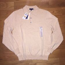 NEW MENS CLUB ROOM POLO SWEATER SIZE S SMALL ITALY 100% FINE MERINO WOOL HONEY