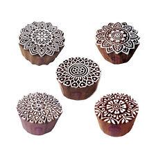 Artistic Motif Round and Mandala Block Print Wood Stamps (Set of 5)