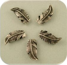 2 Hole Beads Feathers Bird Wings Antique Finish Silver Plated Metal Sliders 5pc