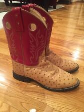 OLD WEST 7M Red Ostrich Print Embroidered Flames Leather Boots CW2550Y Mint!