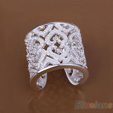Stylish 925 Silver Stamped Heart Crystal Ring / Wide Band Opening