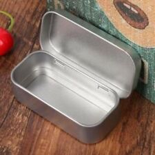 Tin Higen Lid Small Empty Silver Metal Storage Box Case Organizer Survival