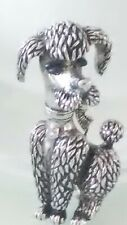 Boucher 1955 1960's Silver Tone Enamel Etched Dimensional Standing Poodle Brooch