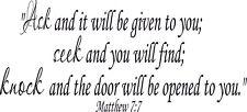 Matthew 7:7 11 x 22 Bible Verse Vinyl Wall Decals by Scripture Wall Art