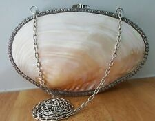 """Vintage Shell Mother Of Pearl Clutch Bag Pouch Shoulder Sling Cocktail Hasp 8"""""""