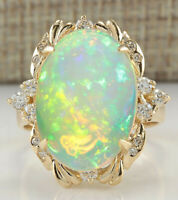 6.42 Carat Natural Opal 14K Yellow Gold Diamond Ring