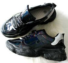Para Mujer Negro Plano Con Cordones Plataforma Plano Suela Gruesa Zapatillas bombas Reino Unido 3-8
